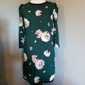 Xhilaration Green & Floral Dress, Zip Up Back XS